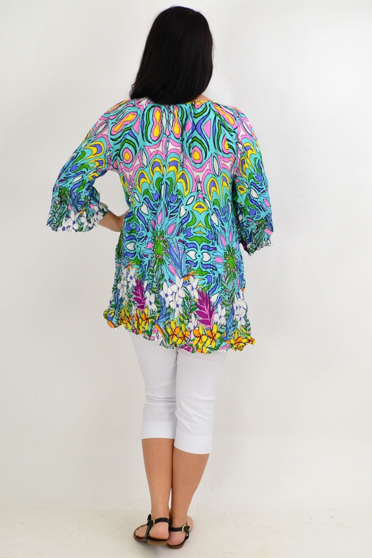 Blue Floral Crinkle Tie Tunic Top