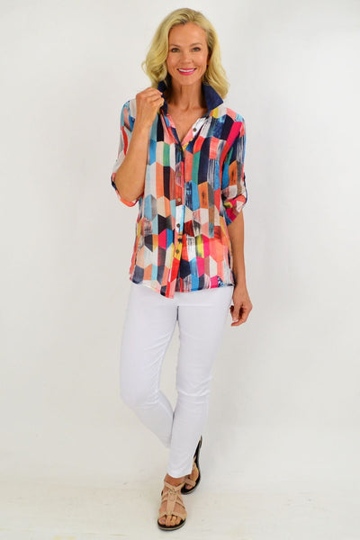 Multicolour Trapezoid Tunic Shirt