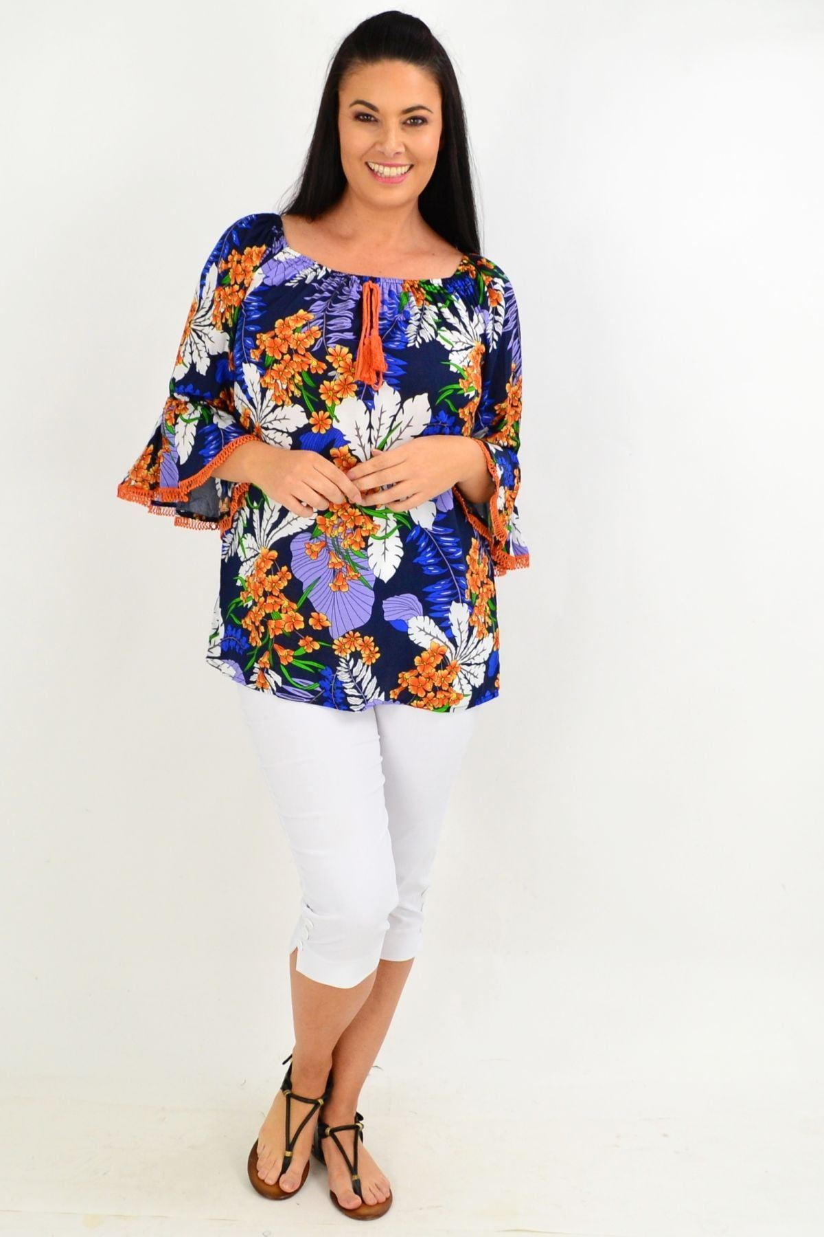Navy Orange Tropical Tassel Off shoulder Tunic Top | I Love Tunics | Tunic Tops | Tunic | Tunic Dresses  | womens clothing online