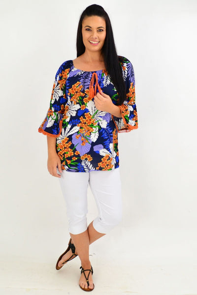 Navy Orange Tropical Tassel Off shoulder Tunic Top