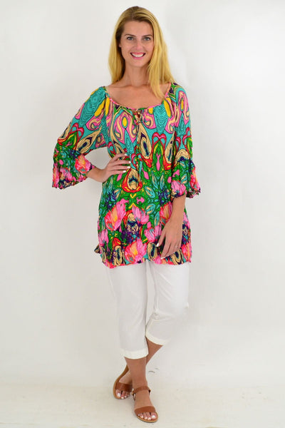 Aqua Floral Crinkle Tie Tunic Top