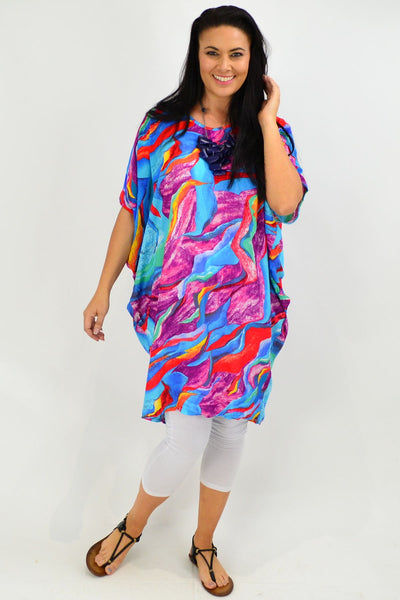 Blue Tropical Swirl Relaxed Tunic Dress - I Love Tunics