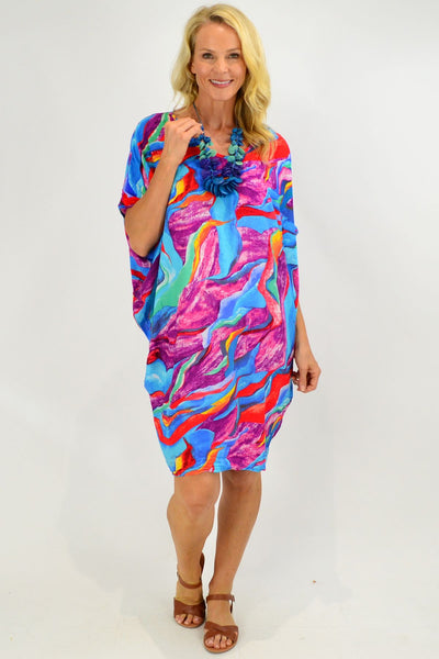 Blue Tropical Swirl Relaxed Tunic Dress