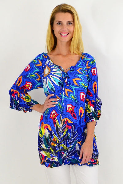 Blue Floral Crinkle Tie Tunic Top | I Love Tunics | Tunic Tops | Tunic | Tunic Dresses  | womens clothing online