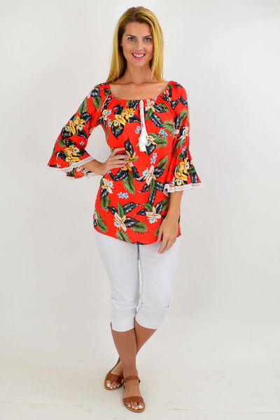 Orange Tropical Tassel Off shoulder Tunic Top