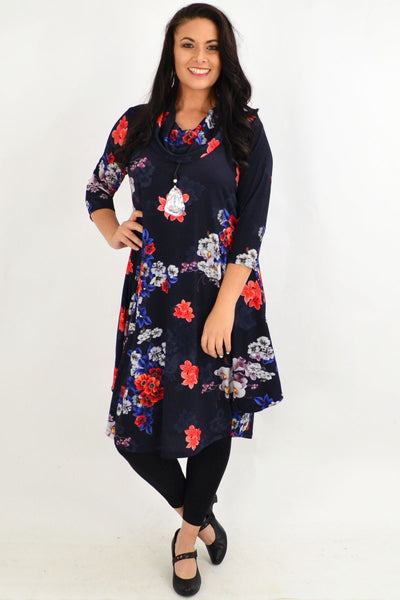 Floral Cowl Neck Tunic Dress by Cordelia St