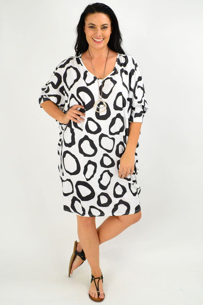 Black White Nova Relaxed Tunic Dress | I Love Tunics | Tunic Tops | Tunic | Tunic Dresses  | womens clothing online