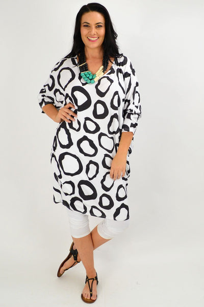 Black White Nova Relaxed Tunic Dress
