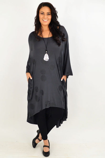 Charcoal Spot Relaxed Tunic Dress by Cotton Village