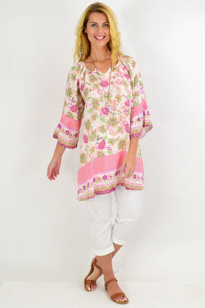 Check Floral Light & Pretty Tunic Top