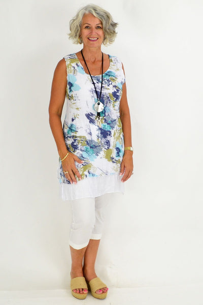 Crinkle Aqua Floral Sleeveless Cotton Linen Tunic Blouse