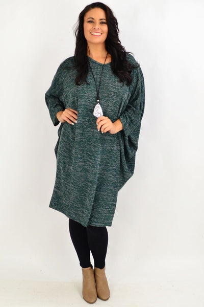 Forest Green Textured Knit Tunic Dress