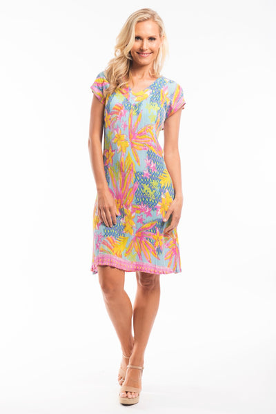 Pink Yellow Floral Tunic Dress