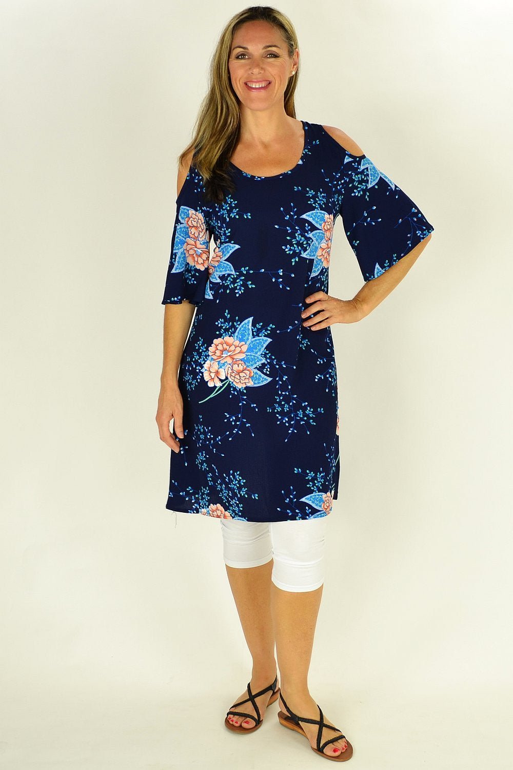 Navy Flower Tree Tunic - at I Love Tunics @ www.ilovetunics.com = Number One! Tunics Destination
