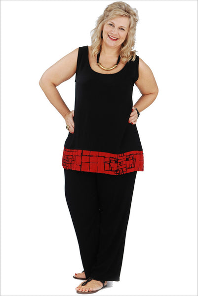 Black Red Sleeveless Tunic