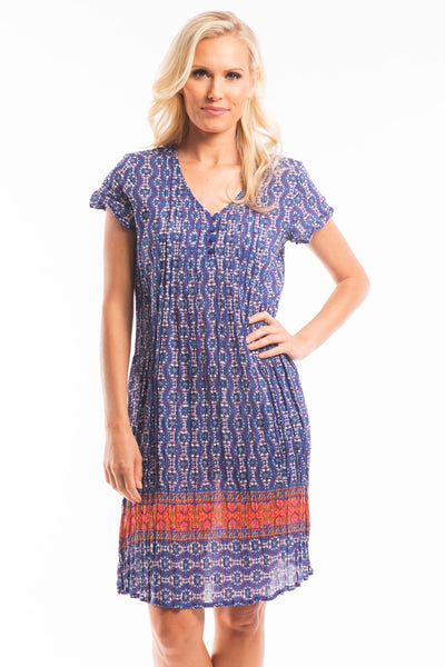Blue White Orange Floral Tunic Dress | I Love Tunics | Tunic Tops | Tunic Dresses | Women's Tops | Plus Size Australia | Mature Fashion