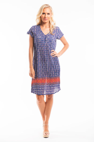 Blue White Orange Floral Tunic Dress
