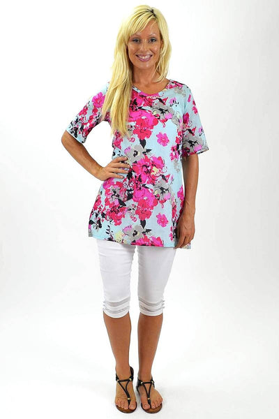 Pink Flowers Cotton Tunic