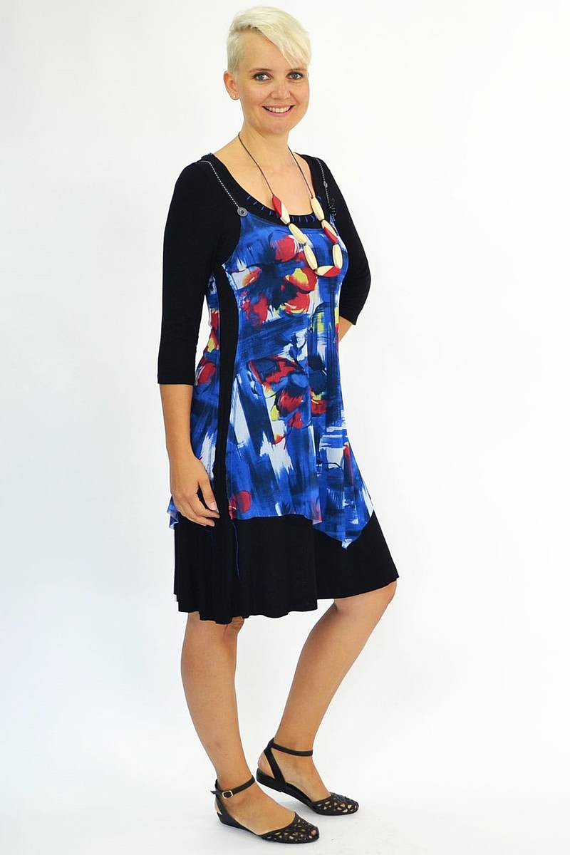 Blue Red Floral Tunic | I Love Tunics | Tunic Tops | Tunic Dresses | Women's Tops | Plus Size Australia | Mature Fashion