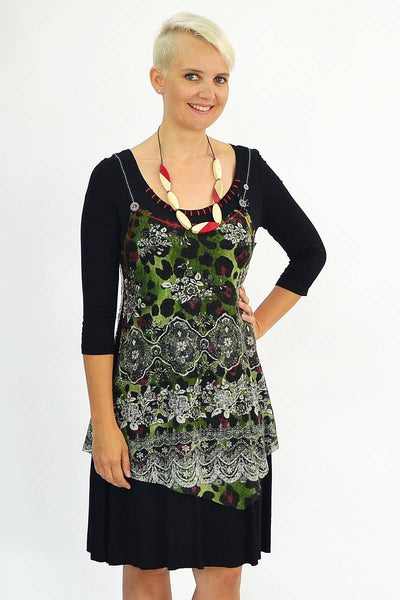 Long Green Floral Tunic - at I Love Tunics @ www.ilovetunics.com = Number One! Tunics Destination