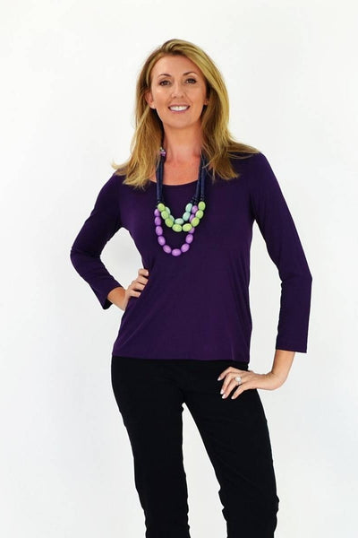 Purple 3/4 Sleeve Basic - I Love Tunics @ www.ilovetunics.com