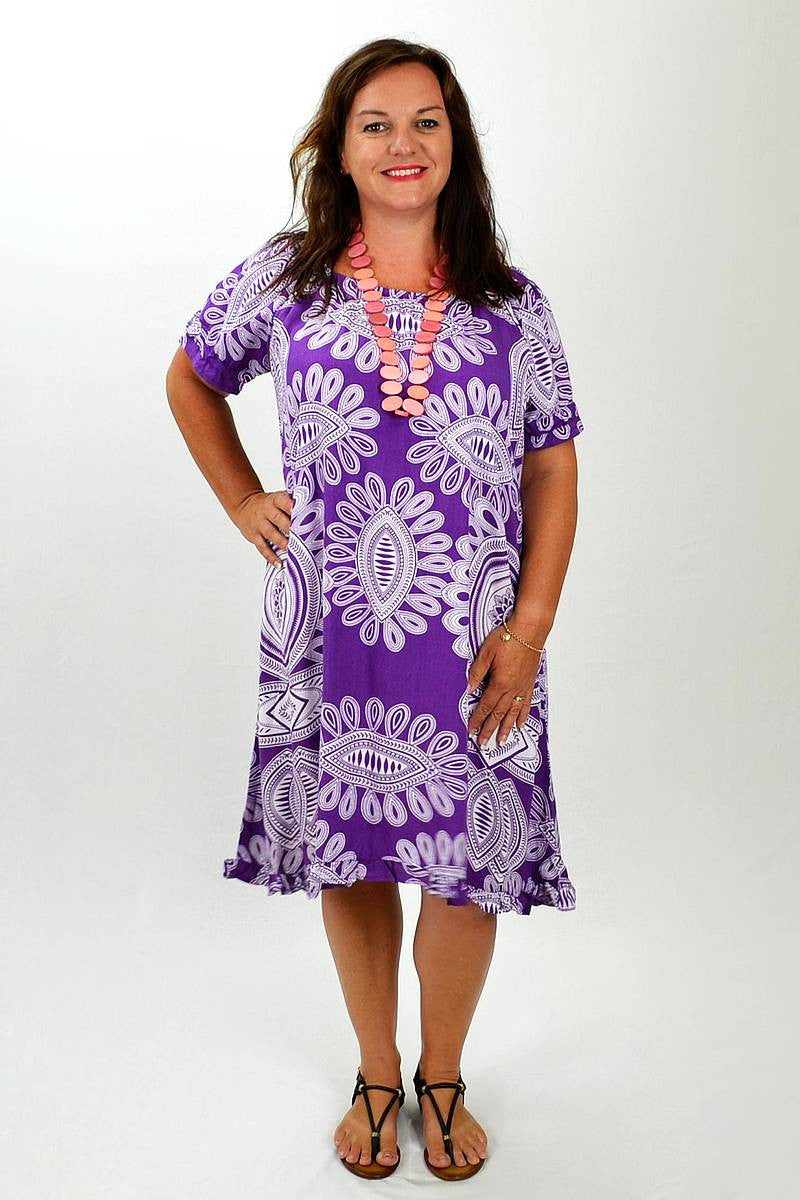Purple White Pattern Tunic - at I Love Tunics @ www.ilovetunics.com = Number One! Tunics Destination