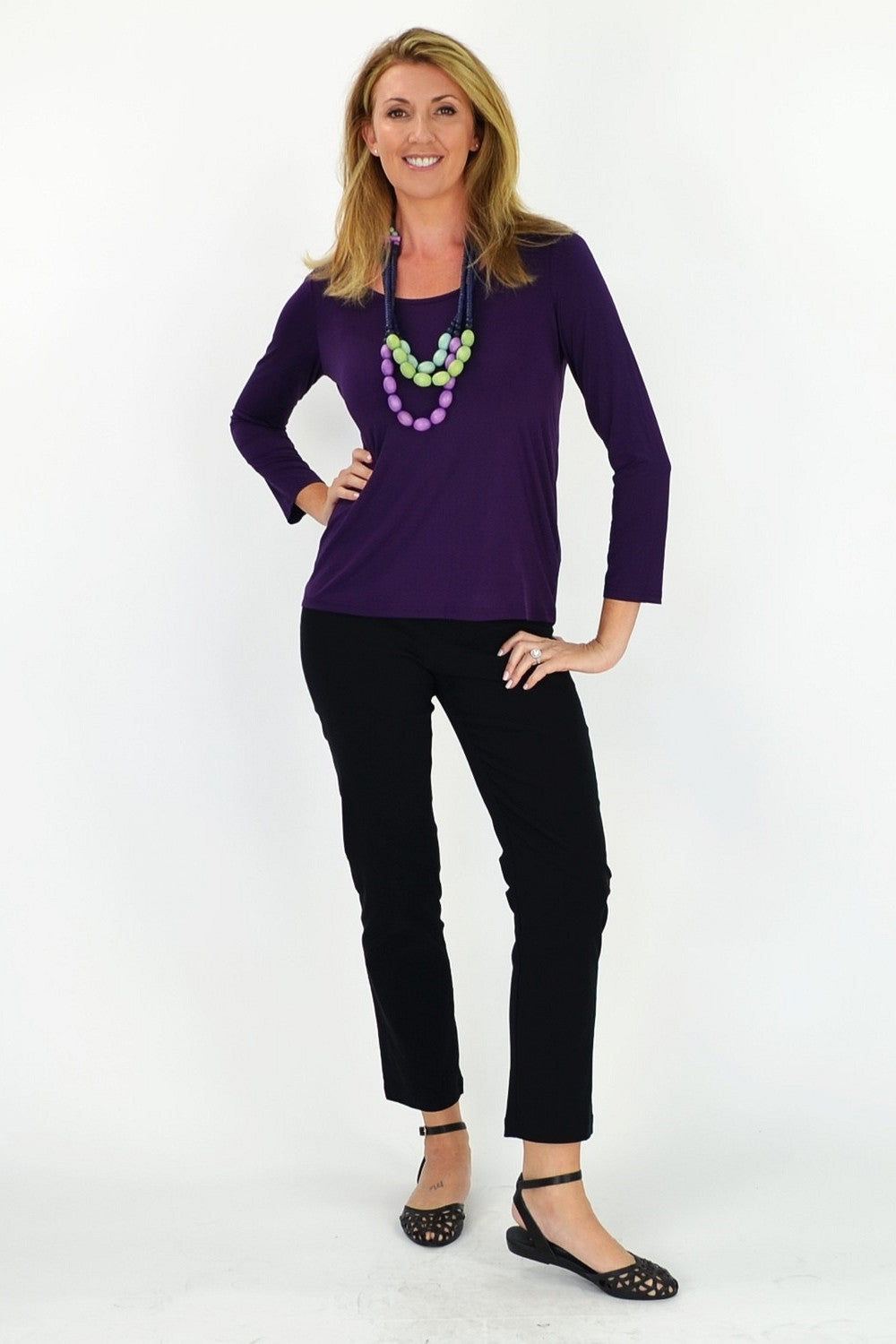 Purple 3/4 Sleeve Basic - at I Love Tunics @ www.ilovetunics.com = Number One! Tunics Destination