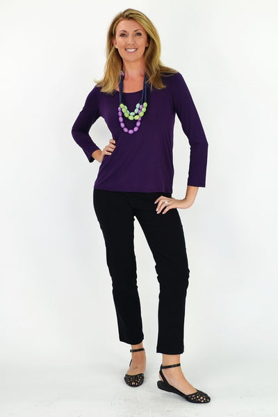 Purple 3/4 Sleeve Basic