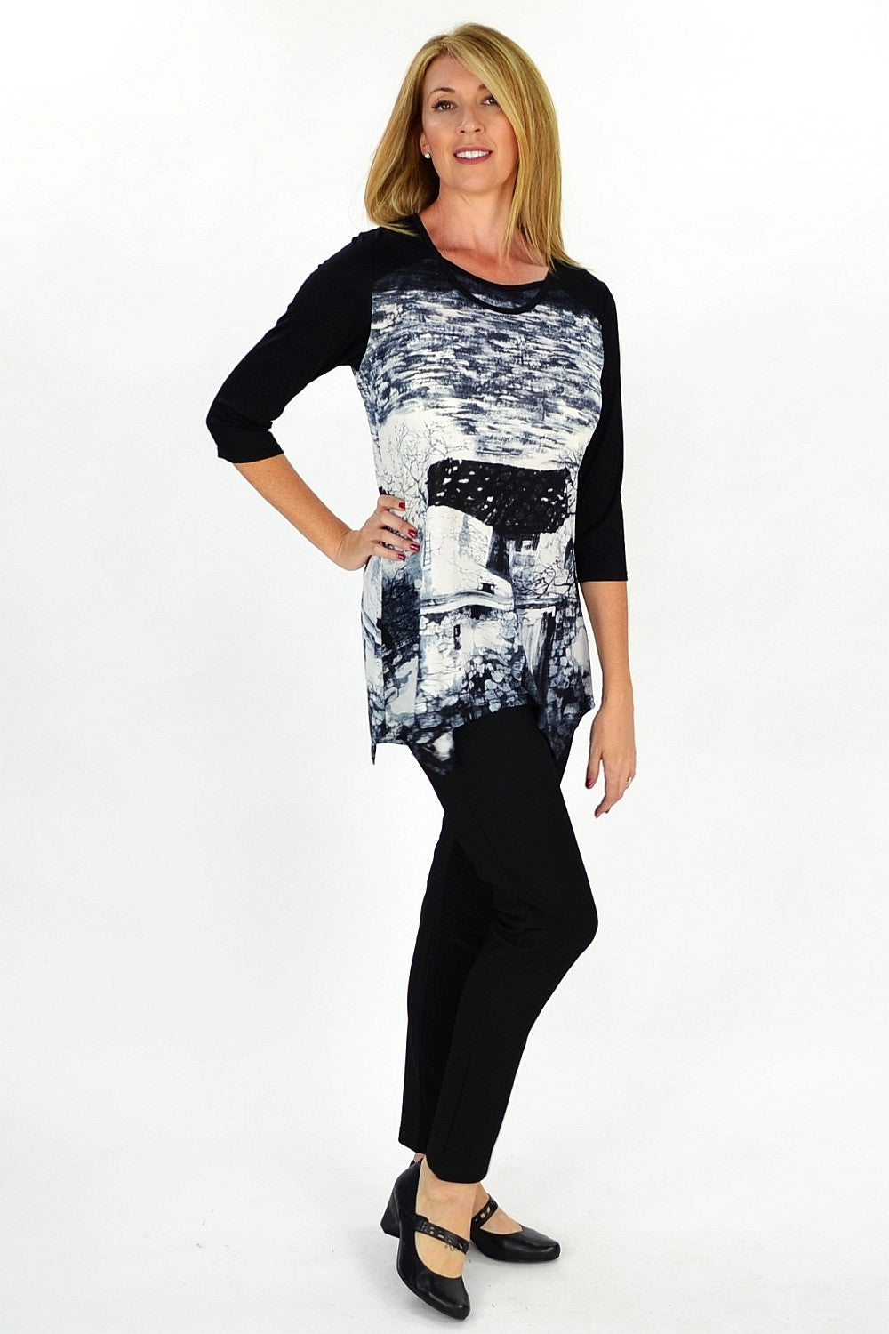 Grey French Village Tunic - at I Love Tunics @ www.ilovetunics.com = Number One! Tunics Destination