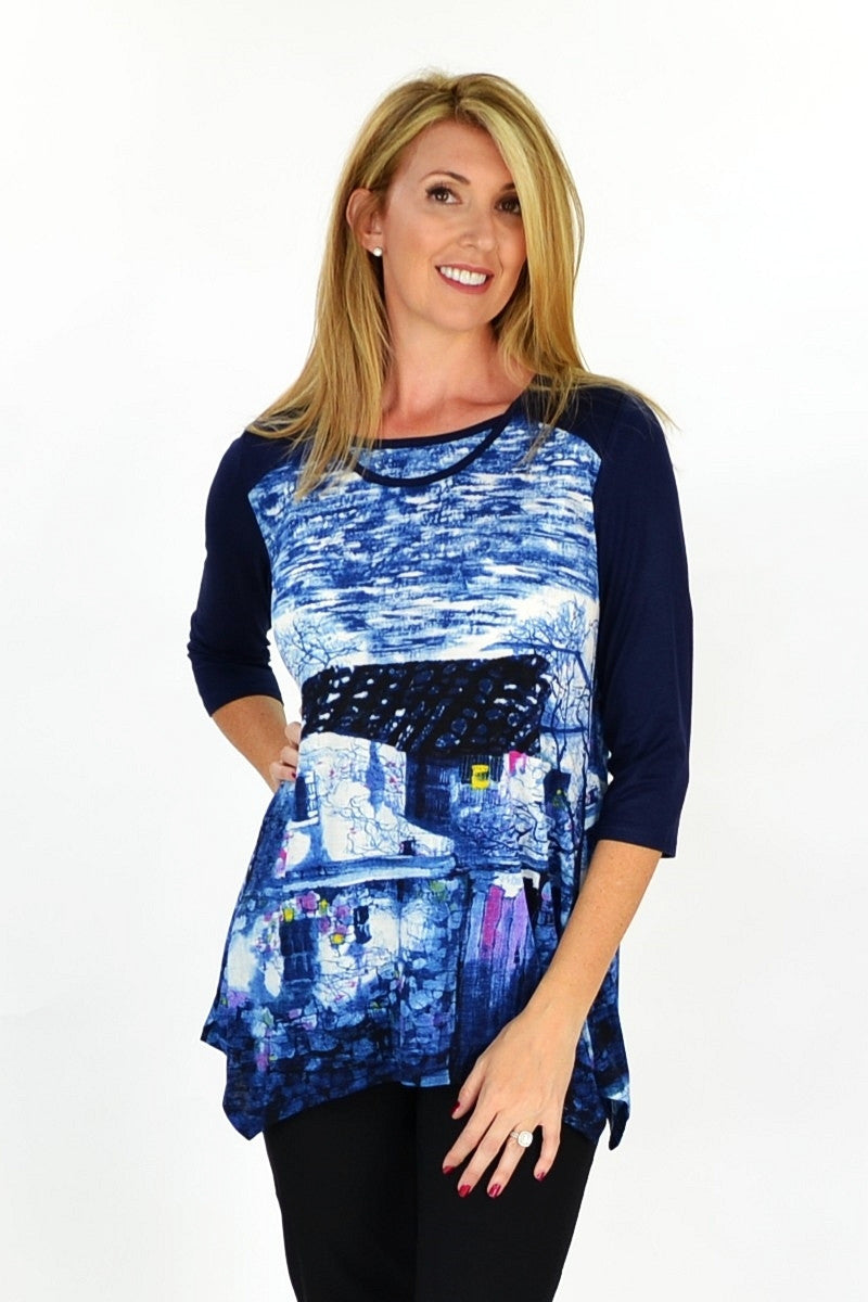 Navy Blue French Village Tunic - at I Love Tunics @ www.ilovetunics.com = Number One! Tunics Destination
