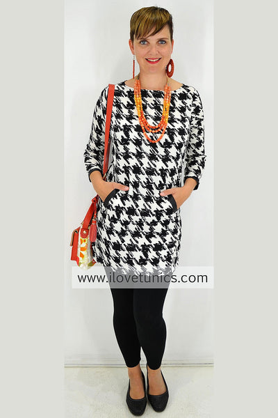 Black White Checked Tunics