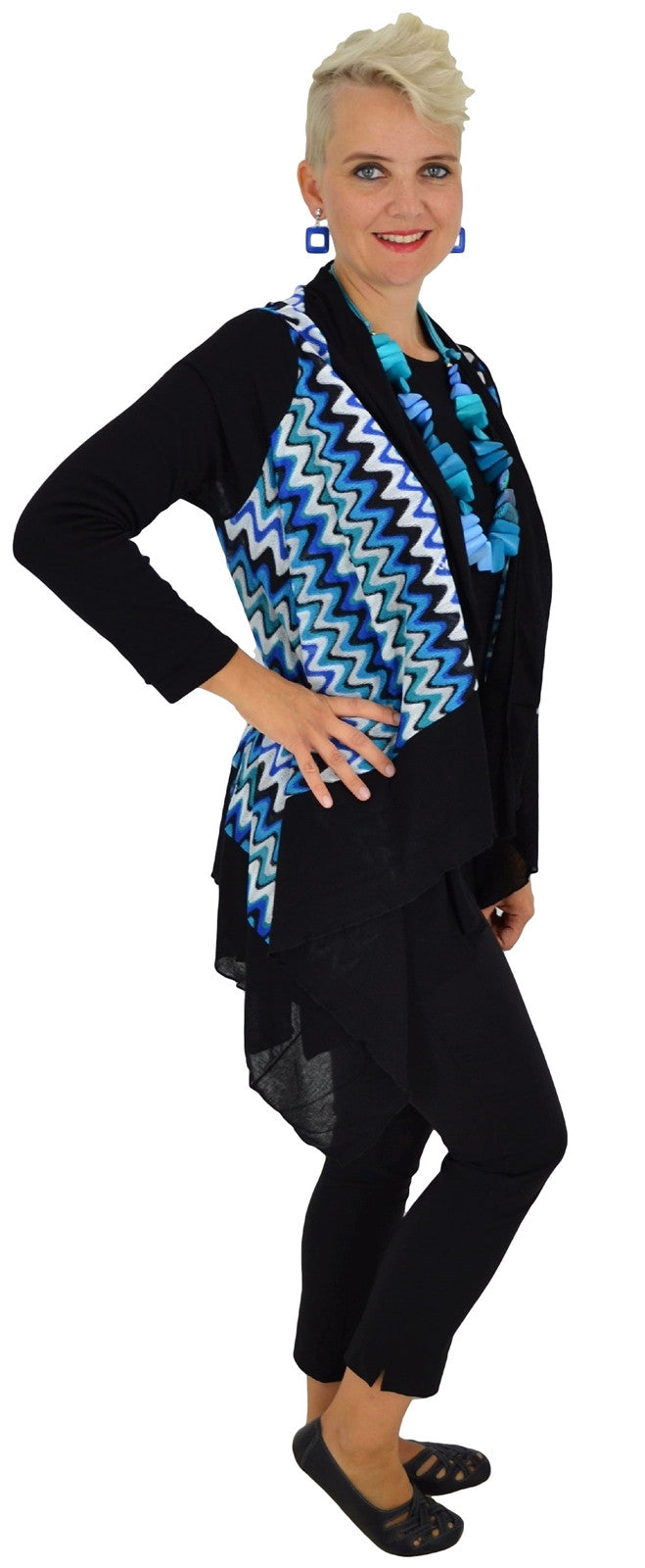 Blue Zig Zag Mesh Cardigan | I Love Tunics | Tunic Tops | Tunic Dresses | Women's Tops | Plus Size Australia | Mature Fashion
