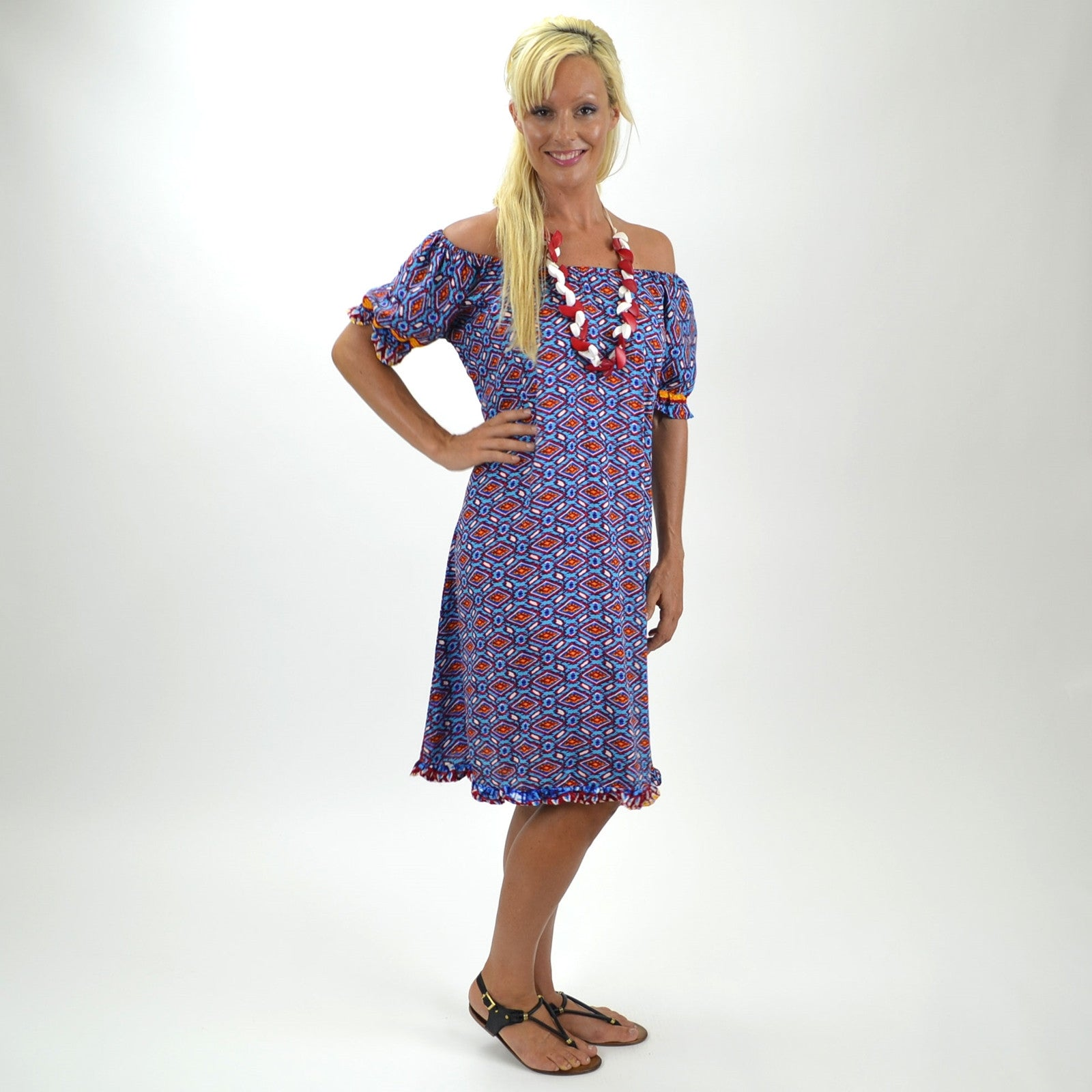 Blue Orange Aztec Tunic - at I Love Tunics @ www.ilovetunics.com = Number One! Tunics Destination