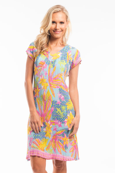 Pink Yellow Floral Tunic Dress | I Love Tunics | Tunic Tops | Tunic | Tunic Dresses  | womens clothing online