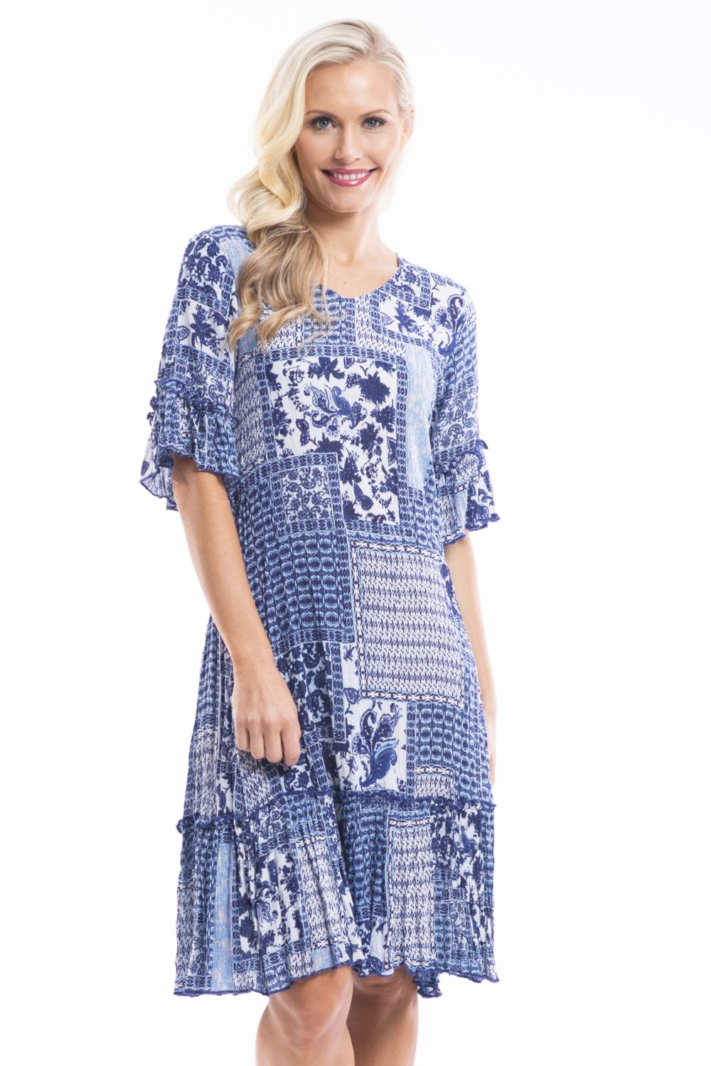 Betty Blue Patch Tunic | I Love Tunics | Tunic Tops | Tunic Dresses | Women's Tops | Plus Size Australia | Mature Fashion