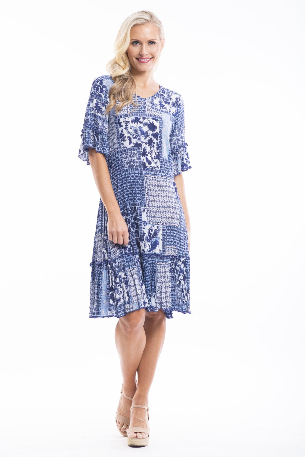 Betty Blue Patch Tunic - at I Love Tunics @ www.ilovetunics.com = Number One! Tunics Destination