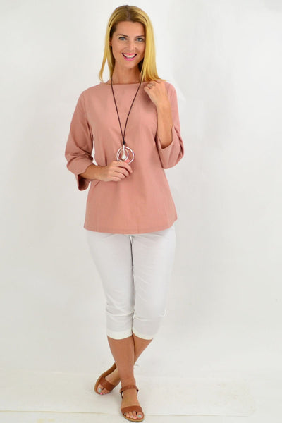 Dusty Pink Box Tunic Blouse