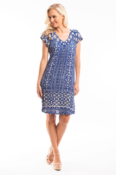 Navy White Crinkle Tunic Dress