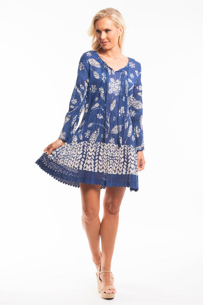 Blue Boho Floral Tunic Dress