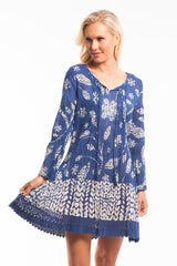 Blue Boho Floral Tunic Dress | I Love Tunics | Tunic Tops | Tunic Dresses | Women's Tops | Plus Size Australia | Mature Fashion
