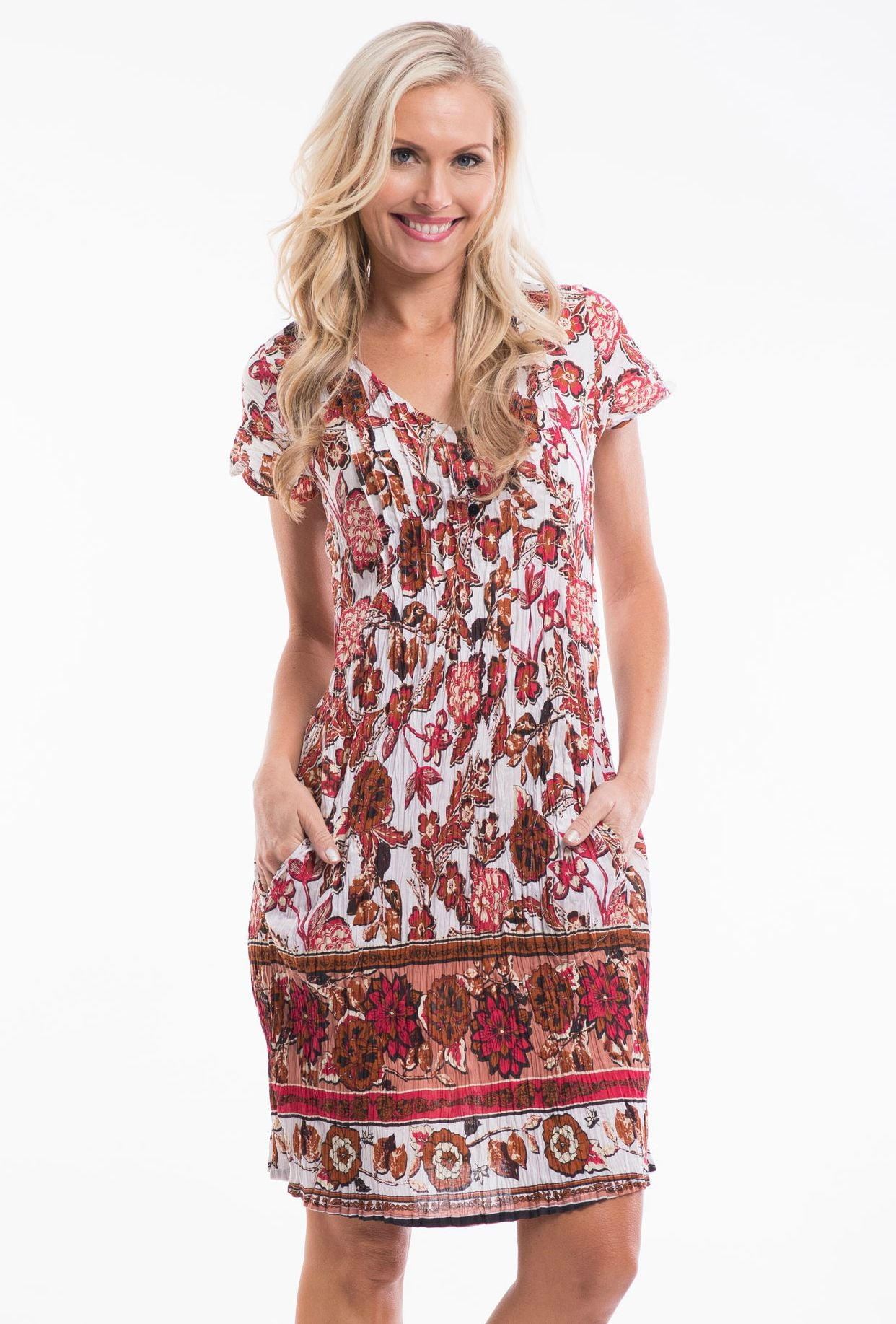 White Red Floral Tunic Dress - at I Love Tunics @ www.ilovetunics.com = Number One! Tunics Destination