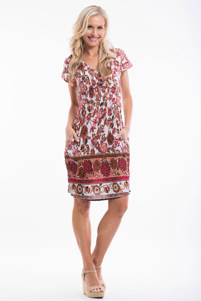 White Red Floral Tunic Dress