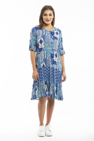 Long Blue White Pattern Tunic