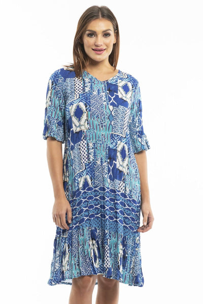 Long Blue White Pattern Tunic | I Love Tunics | Tunic Tops | Tunic | Tunic Dresses  | womens clothing online