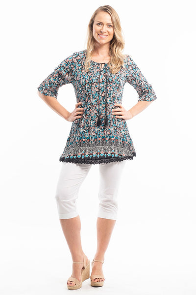 B&W Pop Cotton Lace Tunic Blouse