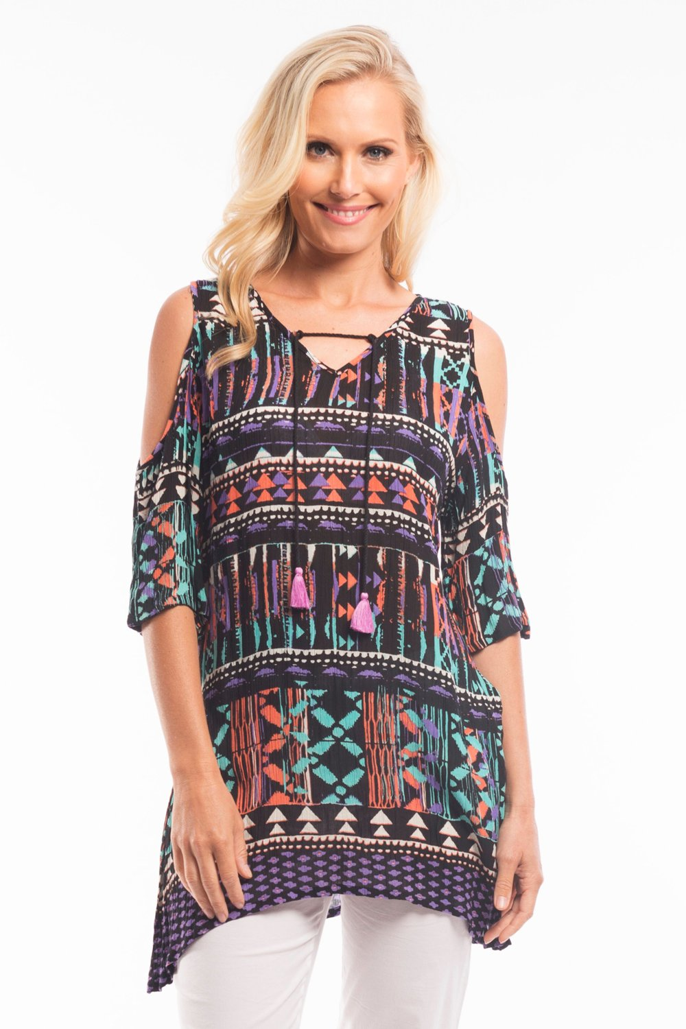Black Carnival Tunic Top | I Love Tunics | Tunic Tops | Tunic Dresses | Women's Tops | Plus Size Australia | Mature Fashion