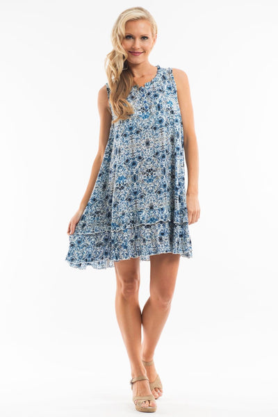 Blue Flower Tunic Dress