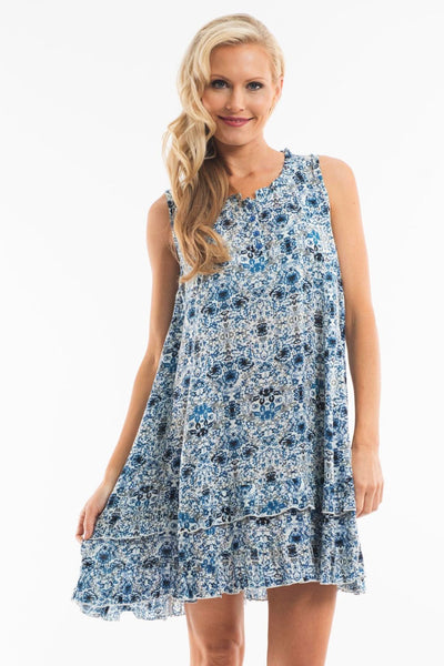 Blue Flower Tunic Dress | I Love Tunics | Tunic Tops | Tunic Dresses | Women's Tops | Plus Size Australia | Mature Fashion