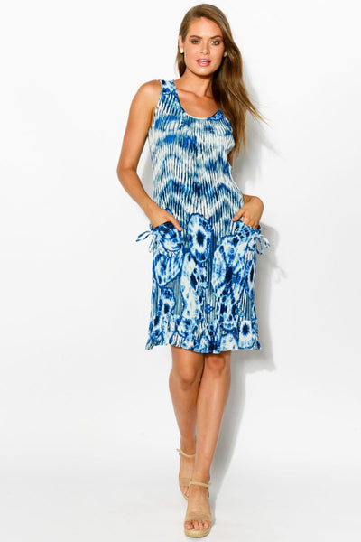 Blue White Tie Dye Sleeveless Tunic Dress