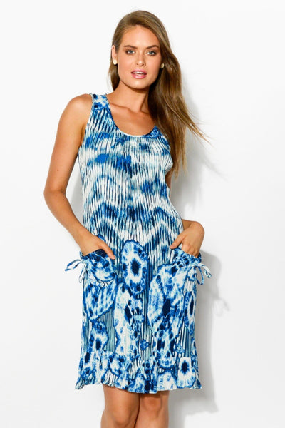 Blue White Tie Dye Sleeveless Tunic Dress | I Love Tunics | Tunic Tops | Tunic Dresses | Women's Tops | Plus Size Australia | Mature Fashion